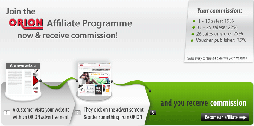 The ORION Affiliate Programme: earn money from your website