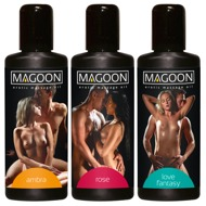 "Massageöl ""Magoon"", 3er-Set: Ambra, Rose und Love Fantasy"