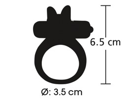 "Vibro-Cock Ring ""Rabbit Ring"", Ø 3.5 cm, made out of silicone"