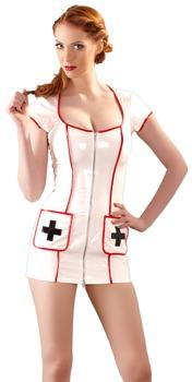 minikleid-aus-lack-im-krankenschwester-look