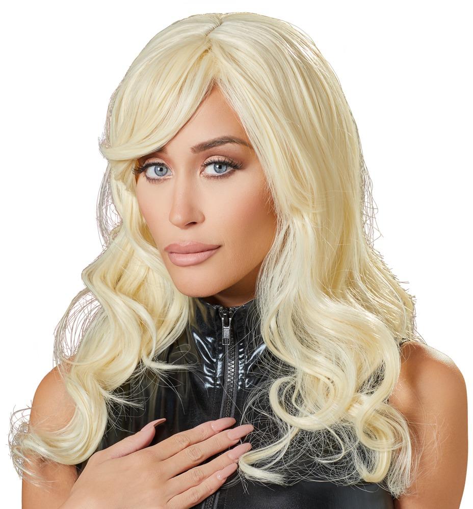 Perücke, blond, gewellt