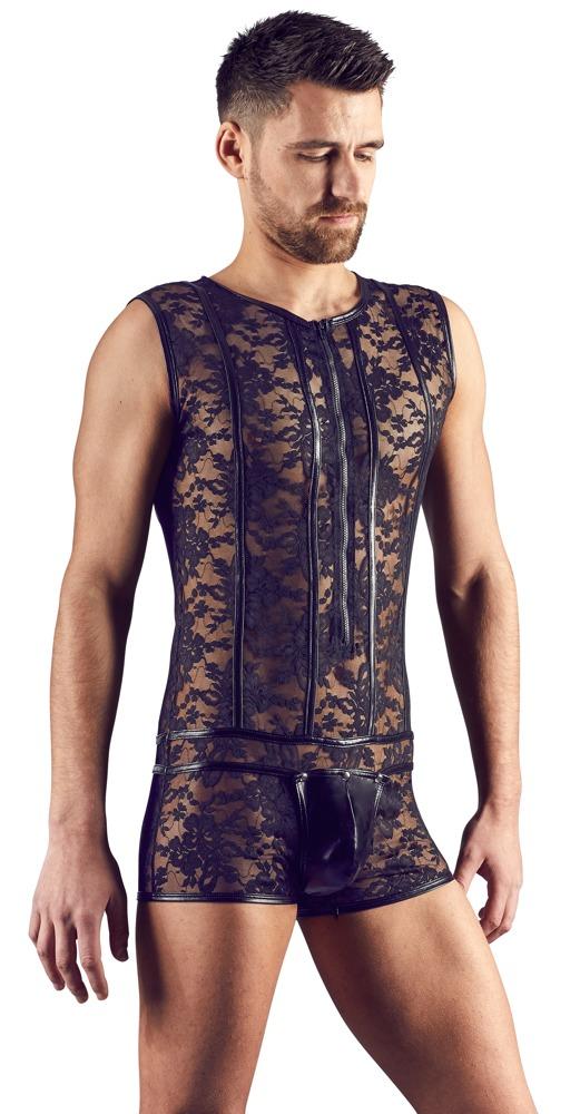 Herren-Body aus Spitze mit Wetlook-Streifen und Front-Zip