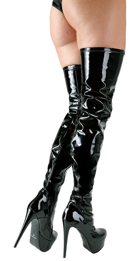 Schwarze Lack-Stiefel