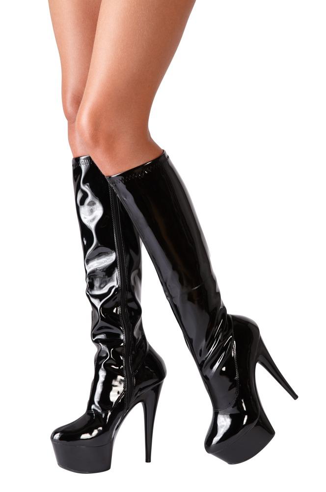 high heel stiefel aus lack 13 cm absatzh he und leichtes. Black Bedroom Furniture Sets. Home Design Ideas
