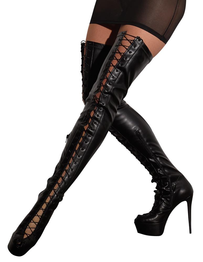 Overknee-Stiefel mit Schnürung vom Zeh bis über das Knie