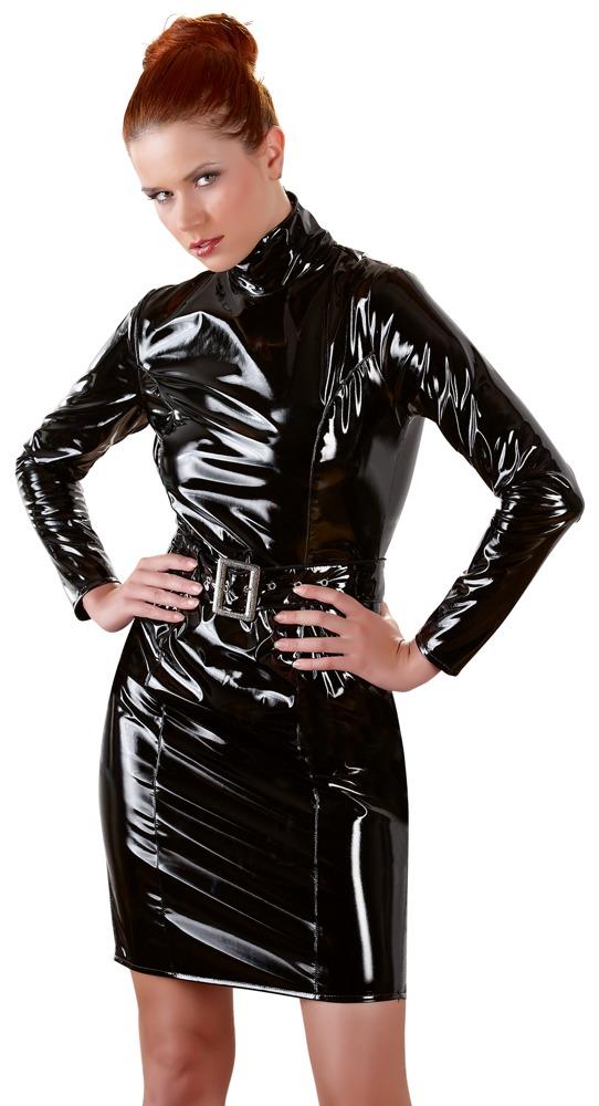Kleid aus Lack mit Stehkragen und Gürtel bei Orion - Erotikshop