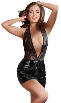minikleid-aus-lack-und-spitze-mit-neckholder