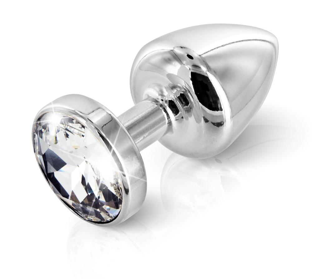 """Analplug """"Round T1"""" aus Aluminium, mit Swarovski®-Schmuckstein"""