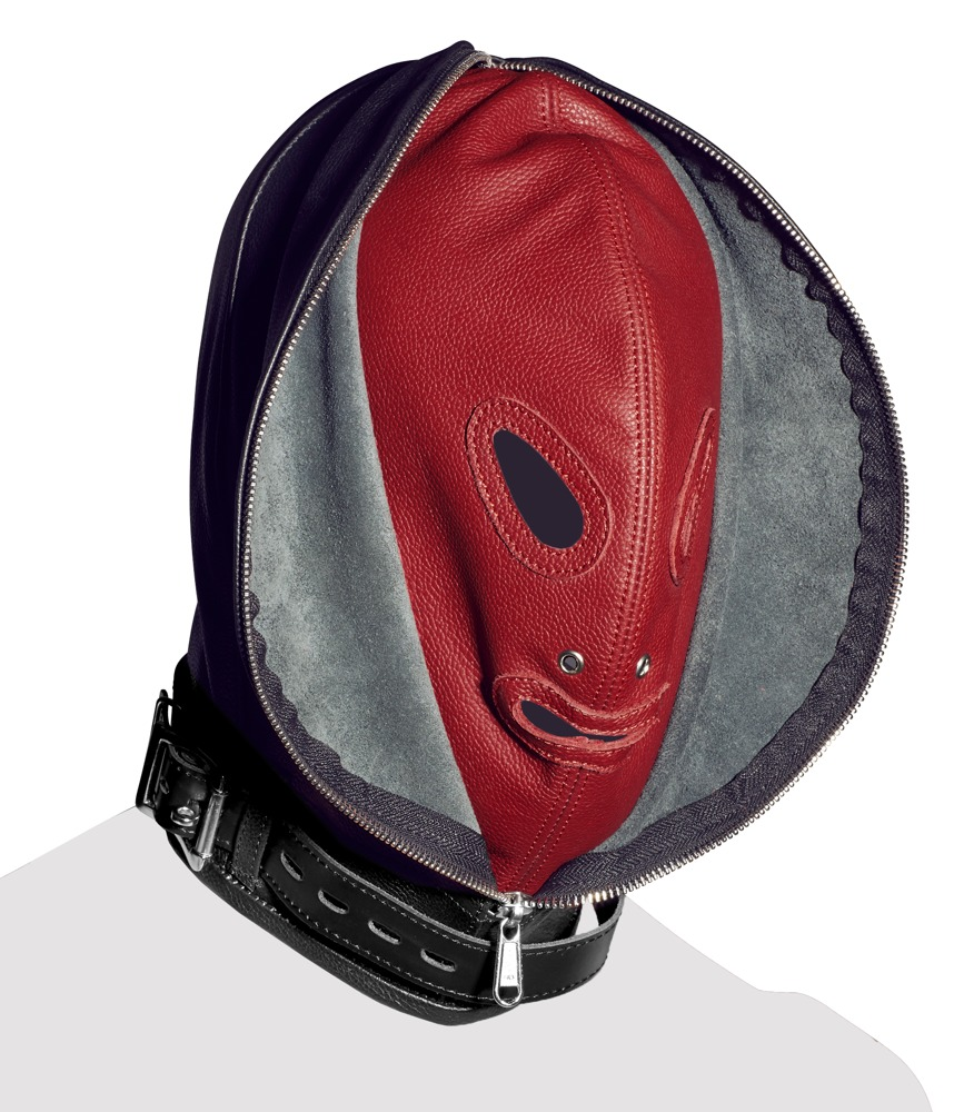 Doppelmaske aus Echtleder, chromfrei gegerbt