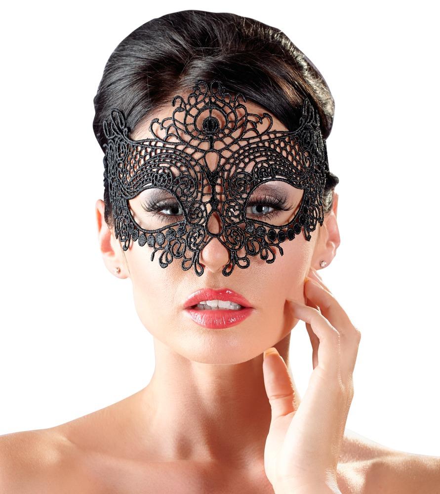 Augenmaske aus filigraner Stickerei, mit Spitzenband zum Zubinden