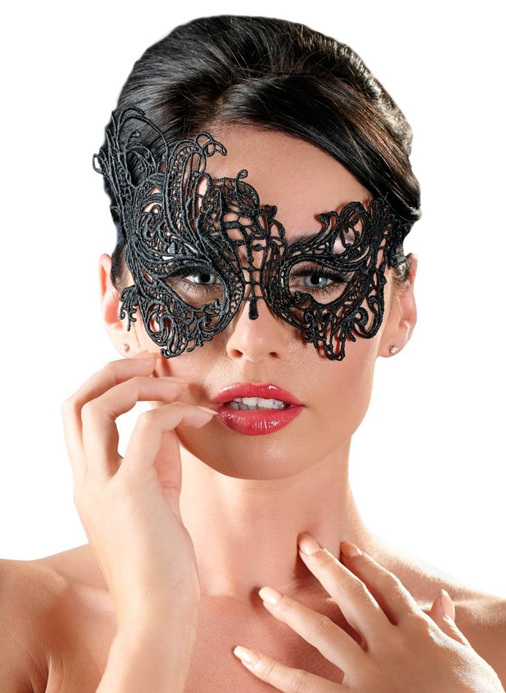 Augenmaske aus filigraner, asymmetrischer Stick...