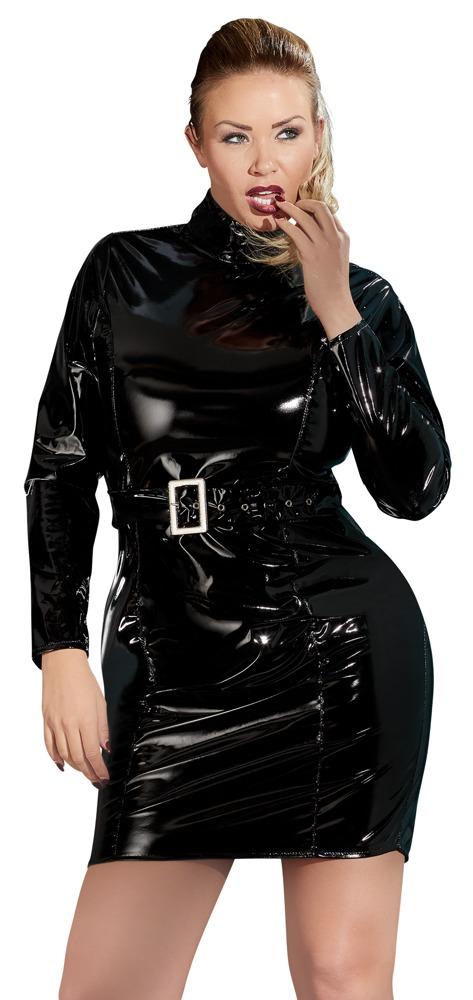 Kleid aus Lack, mit Gürtel